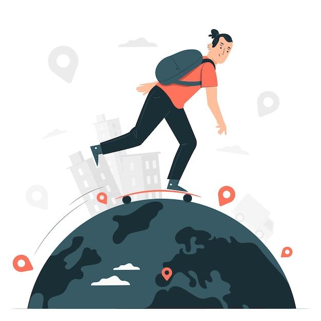 Over de hele wereld concept illustratie Gratis Vector