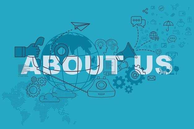 Over ons website banner concept met dunne lijn platte ontwerp Premium Vector