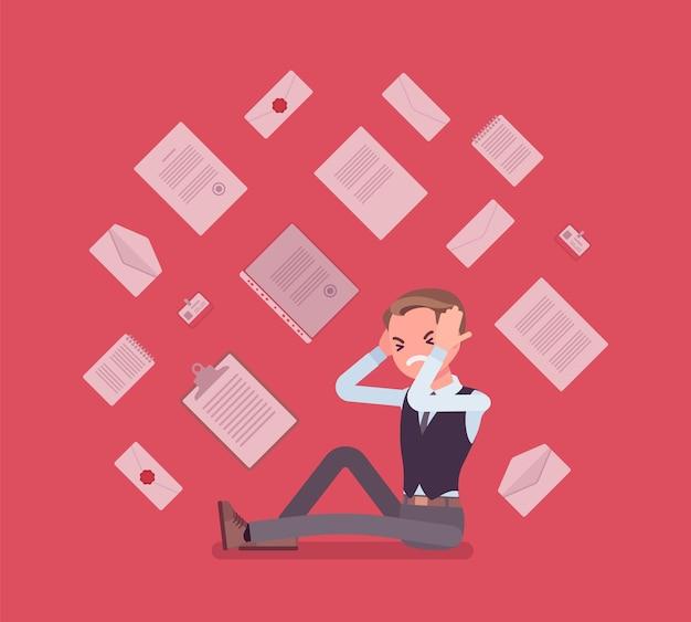 Overbelasting van kantoorpersoneel en papierwerk Premium Vector