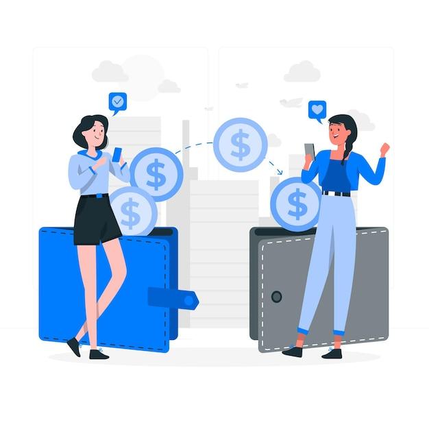 Overdracht van geld concept illustratie Gratis Vector
