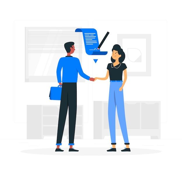 Overeenkomst concept illustratie Gratis Vector