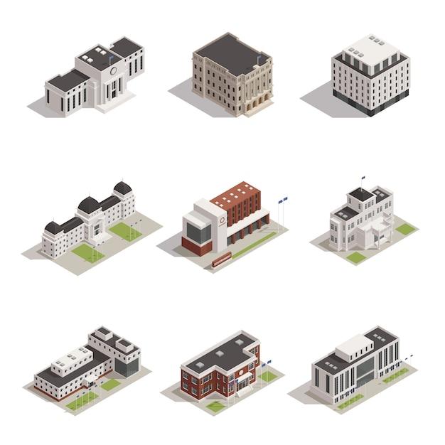 Overheidsgebouwen isometrische icons set Gratis Vector