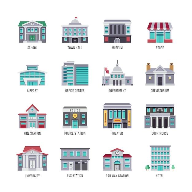 Overheidsgebouwen vlakke pictogrammen instellen. stadsgebouwen, universiteit, gerechtsgebouw, theater, enz Premium Vector