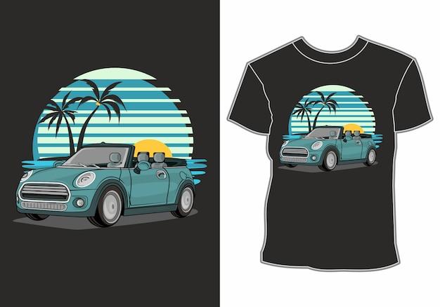 Overhemden met autothema en zomervakanties op het strand Premium Vector