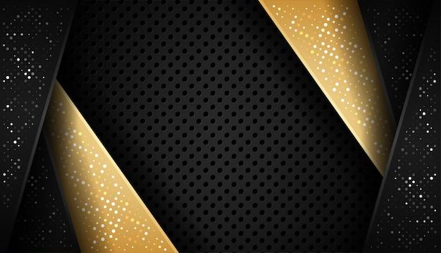 Overlap vorm abstracte goud zwart frame lay-out ontwerptechnologie met glitters en lichteffect Premium Vector