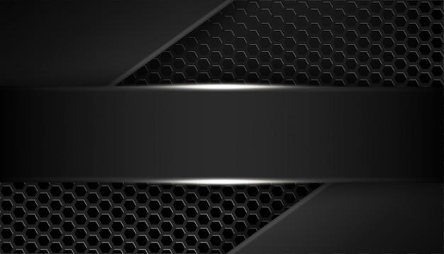 Overlappende vorm abstracte zwarte frame-indeling ontwerptechnologie met glitters en lichteffect Premium Vector