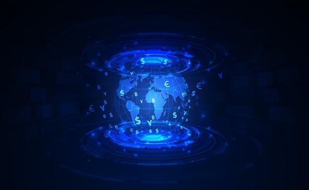Overschrijving. wereldwijde valuta. beurs. voorraad vectorillustratie. Premium Vector
