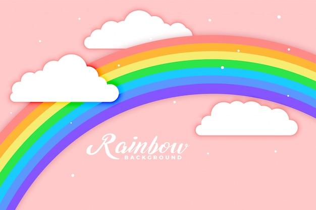 Overspannen regenboog met wolken roze achtergrond Gratis Vector