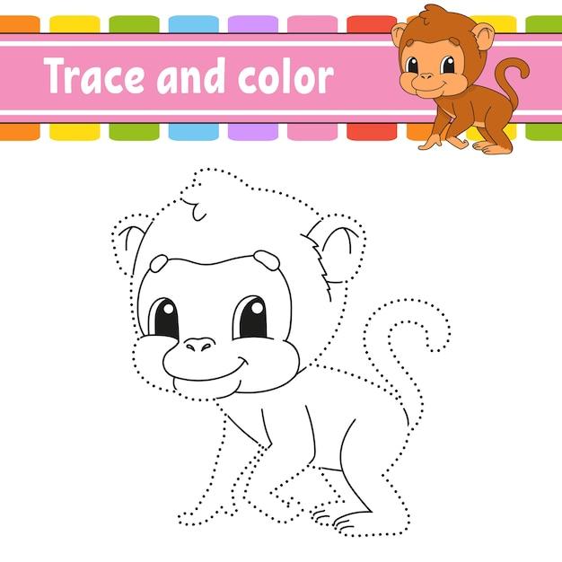 Overtrekken en kleuren. kleurplaat voor kinderen. handschrift oefenen. Premium Vector