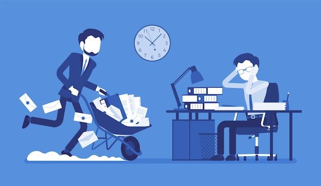 Overwerkt op kantoor. jonge mannelijke werknemer aan de balie uitgeput met te veel papierwerk, zijn collega duwt een wiel vol met documenten, bestanden en brieven. stijl cartoon illustratie Premium Vector