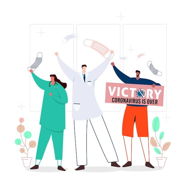Overwinning op coronavirus met mensen Gratis Vector