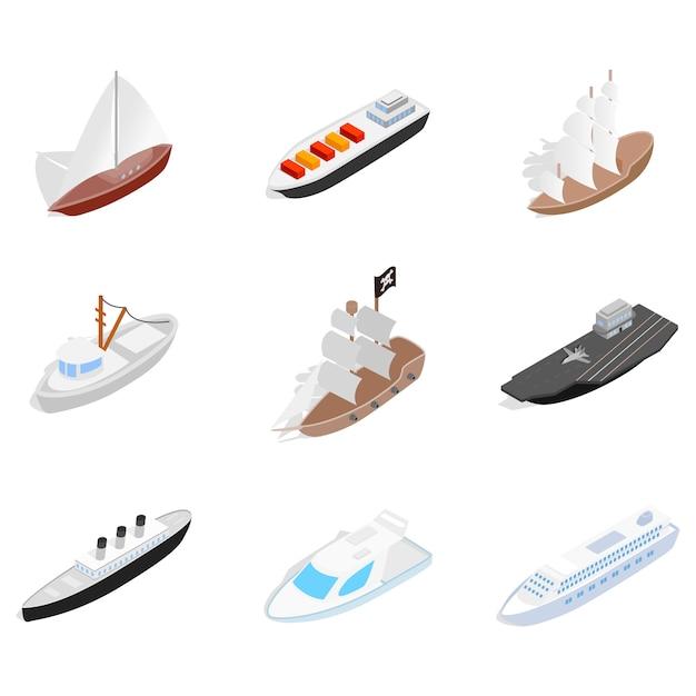 Overzees schippictogram dat op witte achtergrond wordt geplaatst Premium Vector