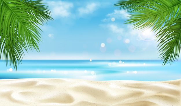 Overzees strand met de achtergrond van palmbladeren, de zomer Gratis Vector