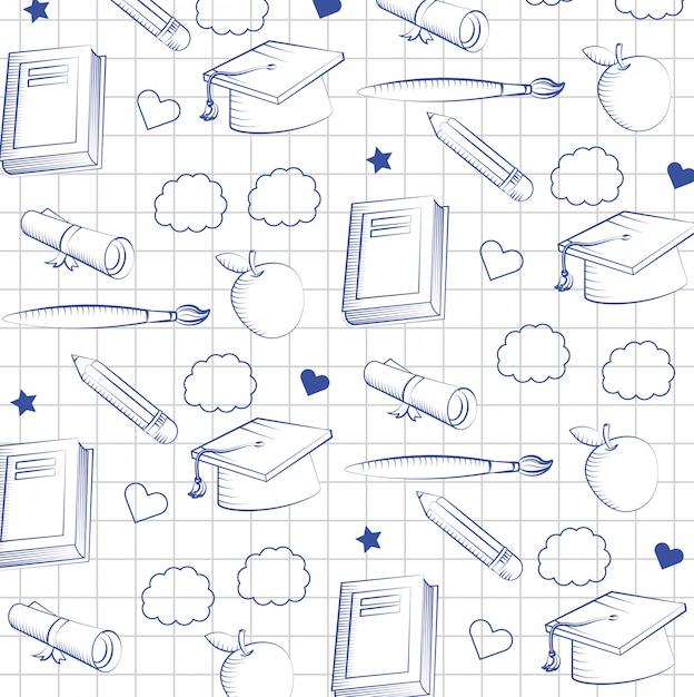 Overzicht afstuderen cap met boek en potlood met penseel achtergrond Gratis Vector