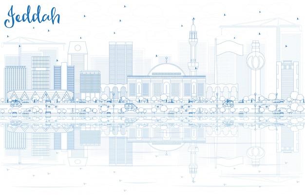 Overzicht jeddah skyline met blauwe gebouwen en reflecties. Premium Vector