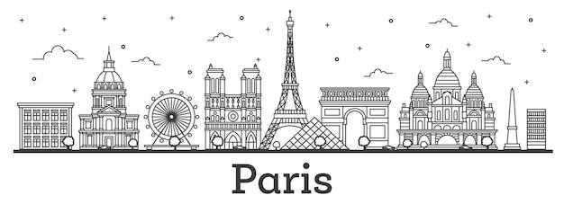 Overzicht parijs frankrijk city skyline met historische gebouwen geïsoleerd op wit. Premium Vector