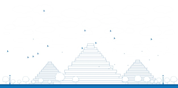 Overzicht piramides in giza illustratie Premium Vector
