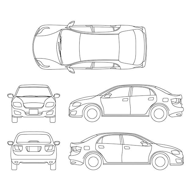 Overzicht sedan auto vector tekening in ander oogpunt Premium Vector
