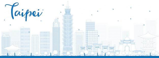 Overzicht taipei skyline met blauwe bezienswaardigheden banner achtergrond Premium Vector