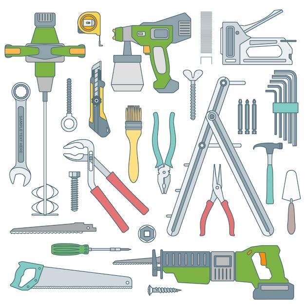 Overzicht verschillende instrumenten set huis reparatie tools Premium Vector