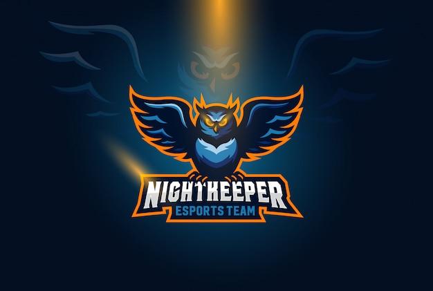 Owl esports logo illustration Premium Vector