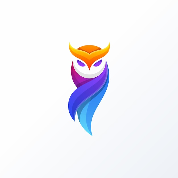 Owl full color design-concept vectormalplaatje Premium Vector