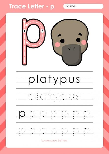 P platypus: alfabet az tracing letters werkblad - oefeningen voor kinderen Premium Vector