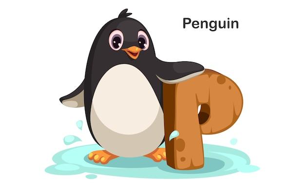 P voor penguin Premium Vector
