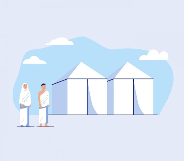 Paar bedevaart voor witte tent Premium Vector