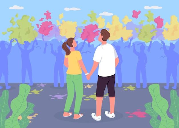 Paar bij holi fest egale kleur illustratie. jongen en meisje kijken naar de prestaties. traditioneel indisch festival. vriend en vriendin 2d stripfiguren met menigte van mensen op achtergrond Premium Vector
