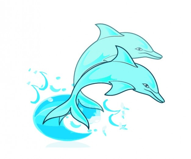 Paar blauwe dolfijnen Gratis Vector