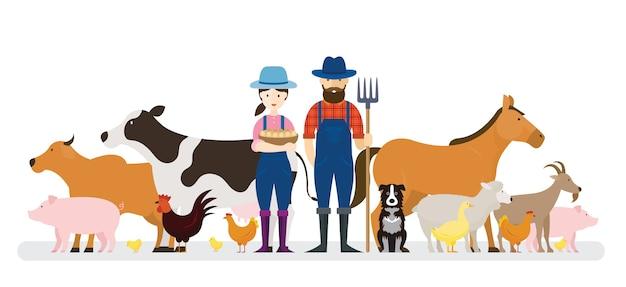 Paar boeren en hond met boerderijdieren Premium Vector