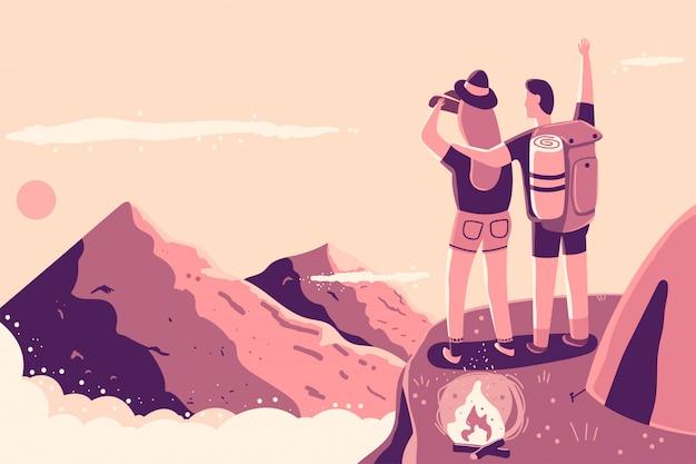 Paar bovenop de berg dichtbij de kampvuur en tent vectorbeeldverhaalillustratie. Premium Vector