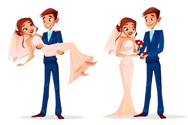 Paar bruiloft illustratie van man en vrouw net getrouwd voor wenskaartsjabloon. Gratis Vector