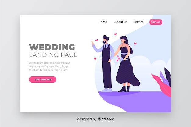 Paar concept voor bruiloft bestemmingspagina Gratis Vector