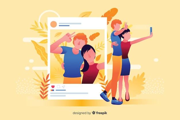 Paar dat een selfie neemt om op geïllustreerde sociale media te posten Gratis Vector