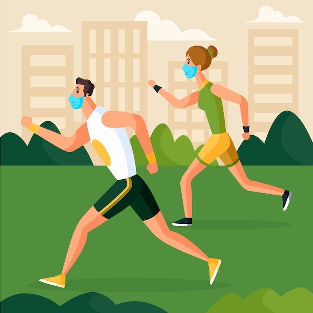 Paar dat in het park loopt dat medische maskers draagt Gratis Vector