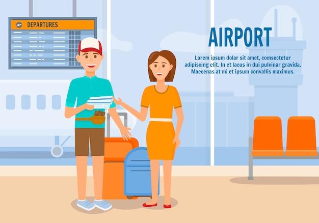 Paar dat met bagage door vliegtuig reist Premium Vector