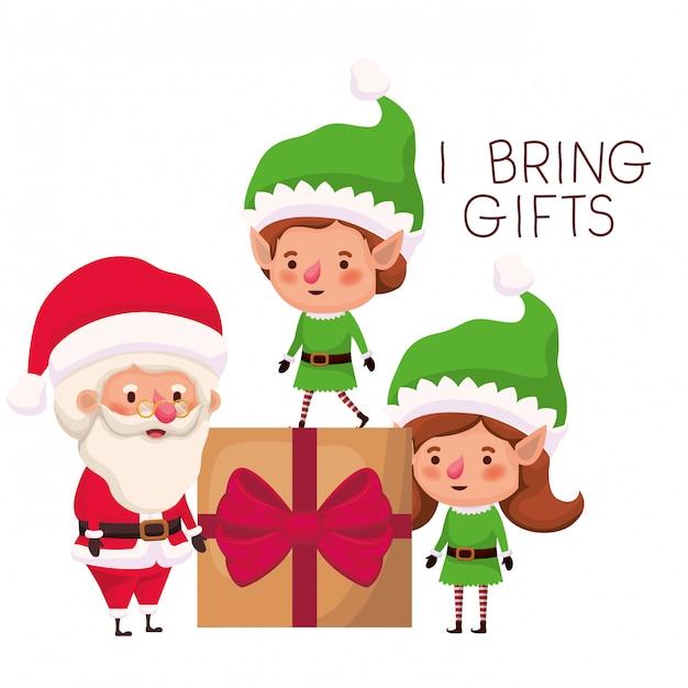 Paar elfjes en de kerstman met geschenkdoos Premium Vector