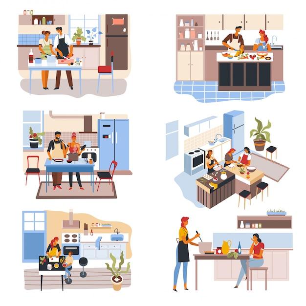 Paar en vrienden in de keuken, mensen koken voedsel Premium Vector