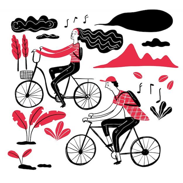 Paar fietsen in het park, collectie van hand getrokken. Premium Vector