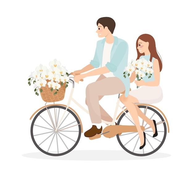 Paar fietsten met phalaenopsis orchidee boeket Premium Vector