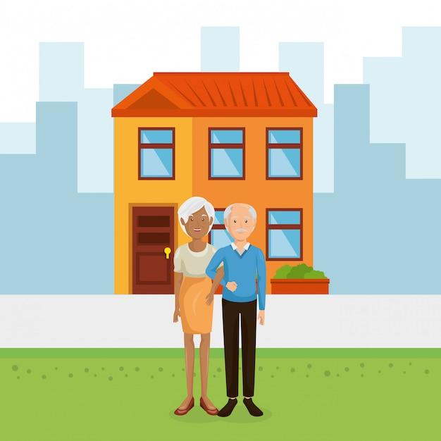 Paar grootouders weg van huis Gratis Vector