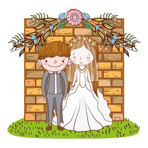Paar huwelijk cute cartoon Premium Vector