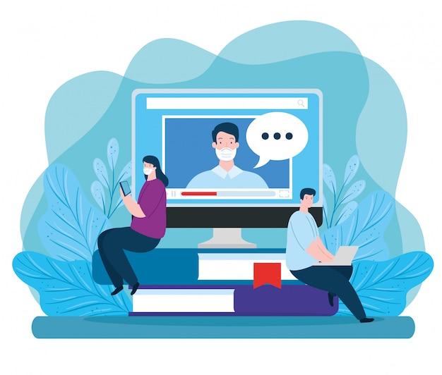 Paar in onderwijs online met het ontwerp van de pictogrammenillustratie Gratis Vector