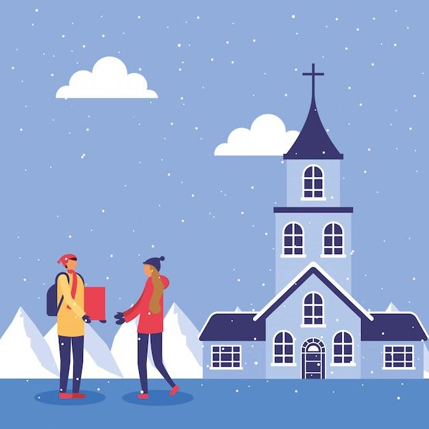 Paar in snowscape beoefenen activiteiten illustratie ontwerp Premium Vector