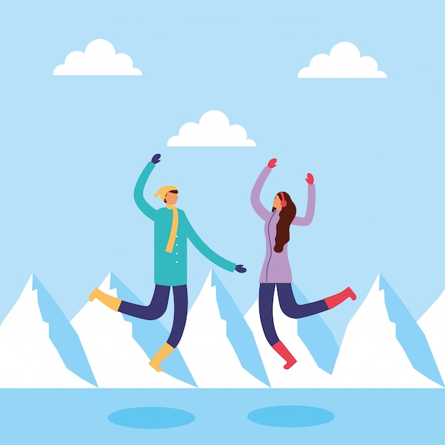 Paar in snowscape beoefenen van activiteiten Premium Vector