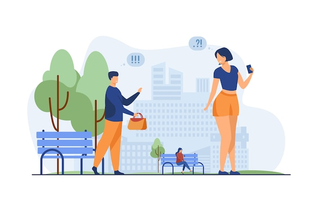 Paar kennismaken in stadspark. man vergeten tas terug te keren naar vrouw platte vectorillustratie. kennismaking op openbare plaatsen, daten Gratis Vector