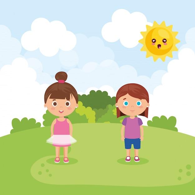 Paar kleine meisjes in de parkkarakters Gratis Vector
