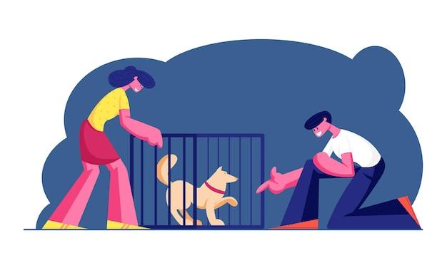 Paar lachende jonge man en vrouw die huisdier uit opvang adopteren. cartoon vlakke afbeelding Premium Vector